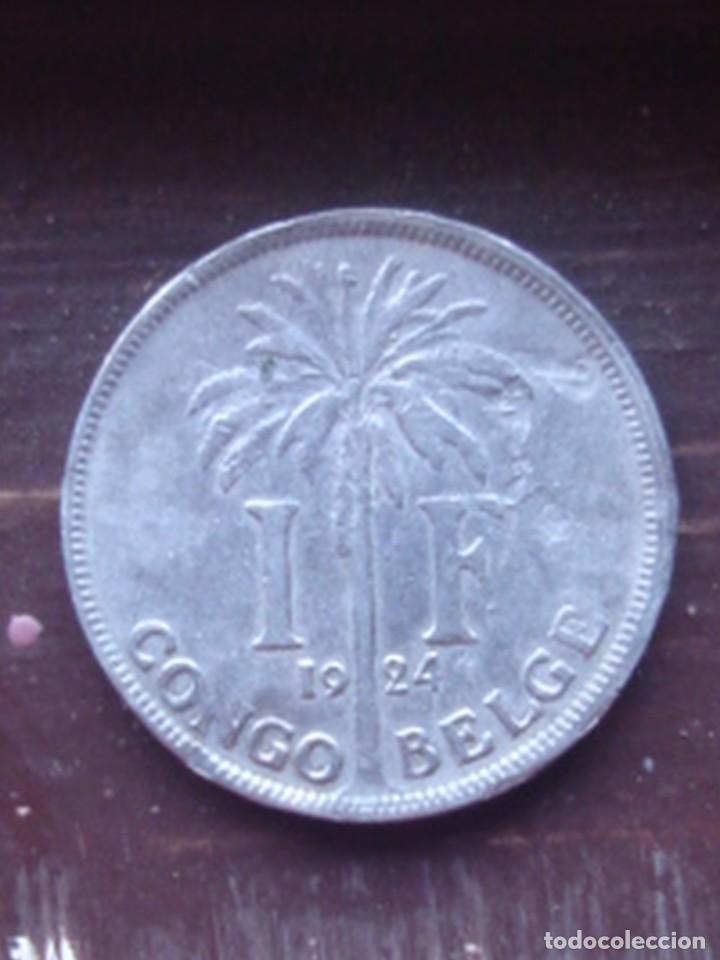 CONGO BELGA. 1 FRANCO DEL REY ALBERTO I DE 1924 CON INSCRIPCIÓN EN FRANCÉS (Numismática - Extranjeras - África)