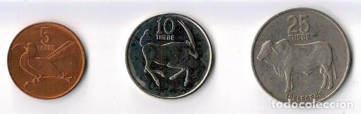 BOTSWANA - 5 1991 - 10 1991 - 25 1984 - THEBE (Numismática - Extranjeras - África)