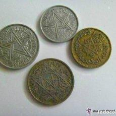 Monedas antiguas de África: LOTE DE 4 MONEDAS DEL IMPERIO CHERIFIANO DE MARRUECOS . AÑOS 50.. Lote 69748273