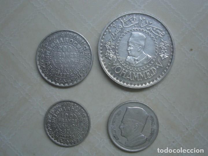 MARRUECOS. MOHAMED V. 4 MONEDAS DE PLATA. 100 Y 200 FRANCOS 1953, 500 FRANCOS 1956 Y 1 DIRHAM 1960. (Numismática - Extranjeras - África)