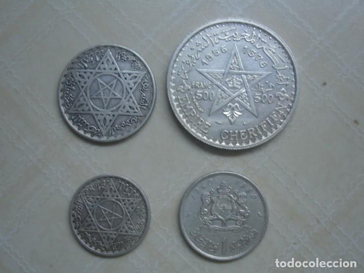 Monedas antiguas de África: Marruecos. Mohamed V. 4 monedas de plata. 100 y 200 francos 1953, 500 francos 1956 y 1 dirham 1960. - Foto 2 - 76173807