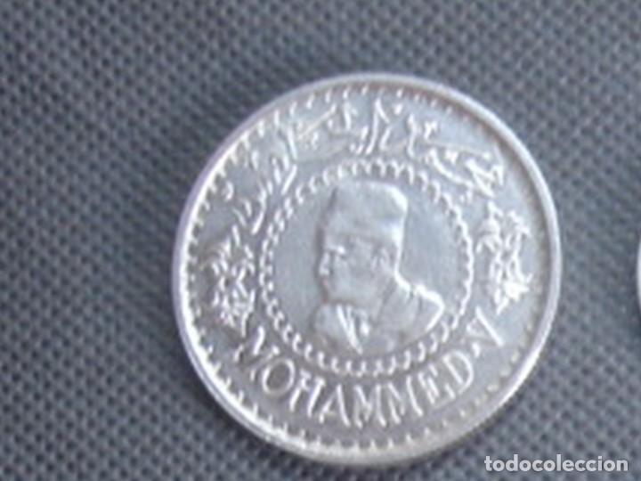Monedas antiguas de África: Marruecos. Mohamed V. 4 monedas de plata. 100 y 200 francos 1953, 500 francos 1956 y 1 dirham 1960. - Foto 9 - 76173807
