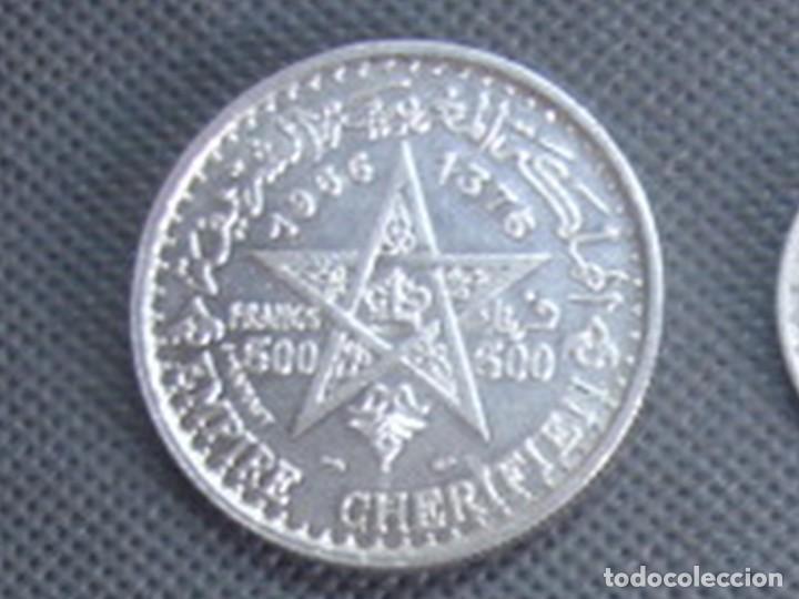 Monedas antiguas de África: Marruecos. Mohamed V. 4 monedas de plata. 100 y 200 francos 1953, 500 francos 1956 y 1 dirham 1960. - Foto 10 - 76173807