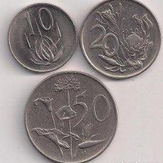 Monedas antiguas de África: SUDÁFRICA - SERIE 10-20-50 CENTS 1975-1977 - FLORA. Lote 84122236