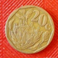 Monedas antiguas de África: MONEDA DE SUDAFRICA - 20 CENTIMOS DEL AÑO 1993. Lote 94592403