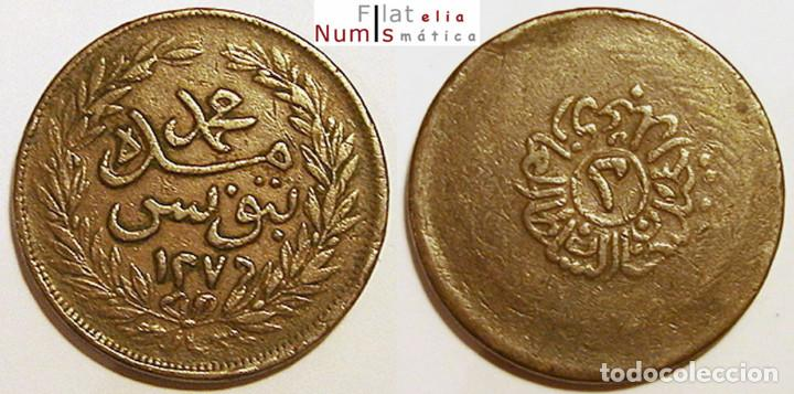 TUNEZ - 2 KHARUB - AH1276 - ABDUL MEJID - 1859-60 - COBRE (Numismática - Extranjeras - África)