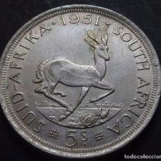 Monedas antiguas de África: SUDÁFRICA 5 CHELINES 1951 JORGE VI -PLATA-. Lote 98951635