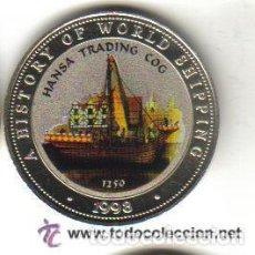 Monedas antiguas de África: SOMALIA - (COLECCION BARCOS HANSA TRADING COG) 25 SHILLINGS 1998 FDC - 20 GRAMOS - DIAMETRO 38 MM . Lote 103870667