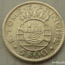 Monedas antiguas de África: MONEDA DE PLATA DE 5 ESCUDOS 1962 ISLA DE SANTO TOME Y PRINCIPE, REPUBLICA PORTUGAL, ESCASA. Lote 104024587
