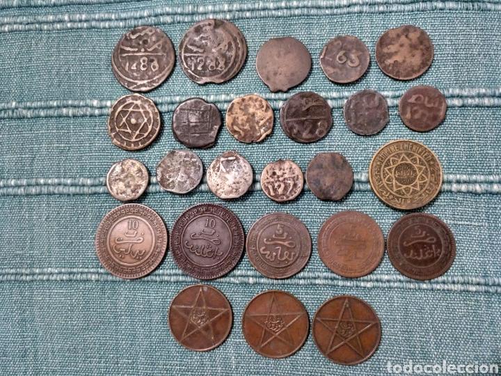 Monedas antiguas de África: Lote de 25 antiguas monedas de Marruecos. A clasificar. - Foto 2 - 105166526