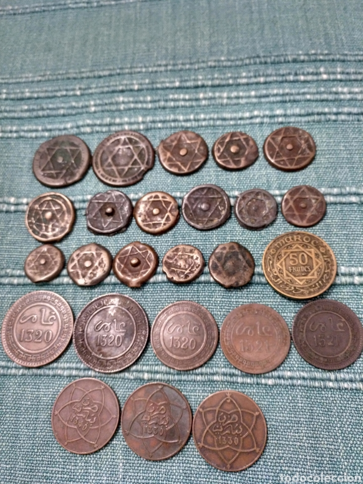 Monedas antiguas de África: Lote de 25 antiguas monedas de Marruecos. A clasificar. - Foto 3 - 105166526