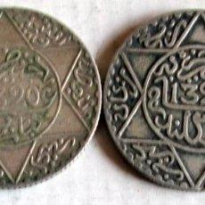 Monedas antiguas de África: MARUECOS . 2 DE 21/2 D -1320 H- DIFERENTES - PLATA. Lote 128070766