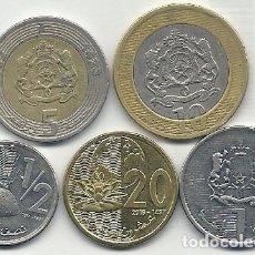 Monedas antiguas de África: MARRUECOS - LOTE DE 5 MONEDAS - 3 EBC/SC, 20 CENTIMES, 1/2, 1, DIRHAM, + 2 USADAS, 5,10 DIRHAMS 2002. Lote 107428963