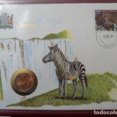 Monedas antiguas de África: MONEDA EN SOBRE PRIMER DIA DE CIRCULACION, 2 NGWEE DE ZAMBIA DE 1983, ESCASO. . Lote 109300239
