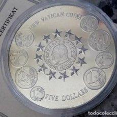 Monedas antiguas de África: MONEDA PLATA POR LOS EUROS DE LA CIUDAD DEL VATICANO CON LA IMAGEN DEL PAPA EDICION LIMITADA. Lote 112133779