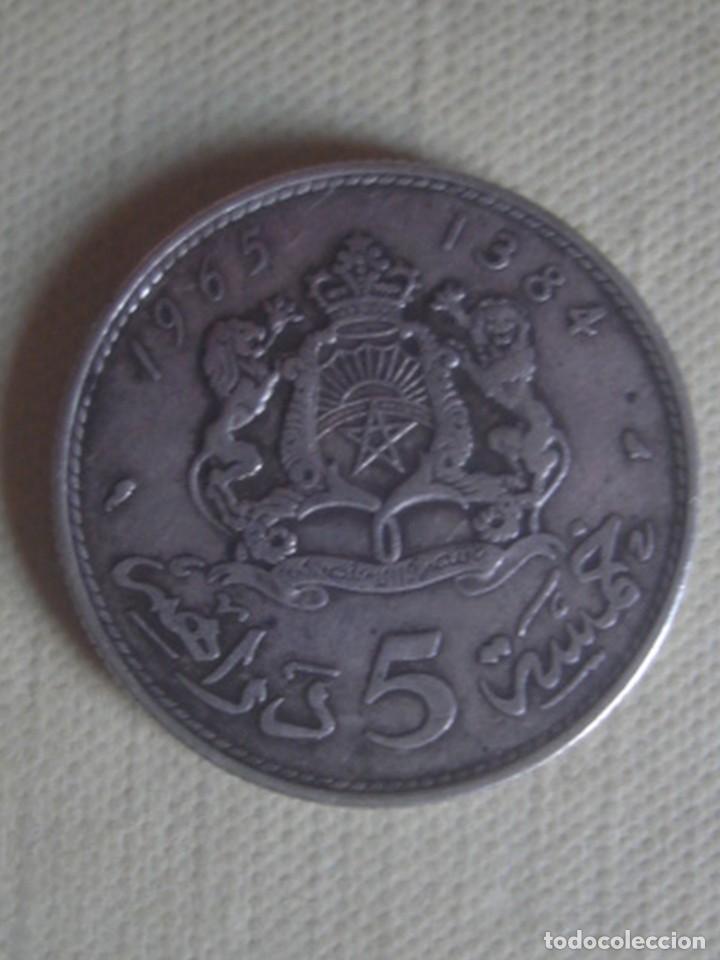 MARRUECOS. 5 DIRHAMS DE PLATA DE HASSAN II DE 1965 (AH 1384). EBC (Numismática - Extranjeras - África)