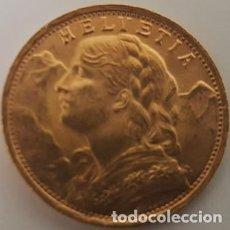 Monedas antiguas de África: MONEDA DE ORO 20 FRANCOS SUIZOS HELVETIA - 1935 - SIN CIRCULAR - NUEVA -. Lote 122289339