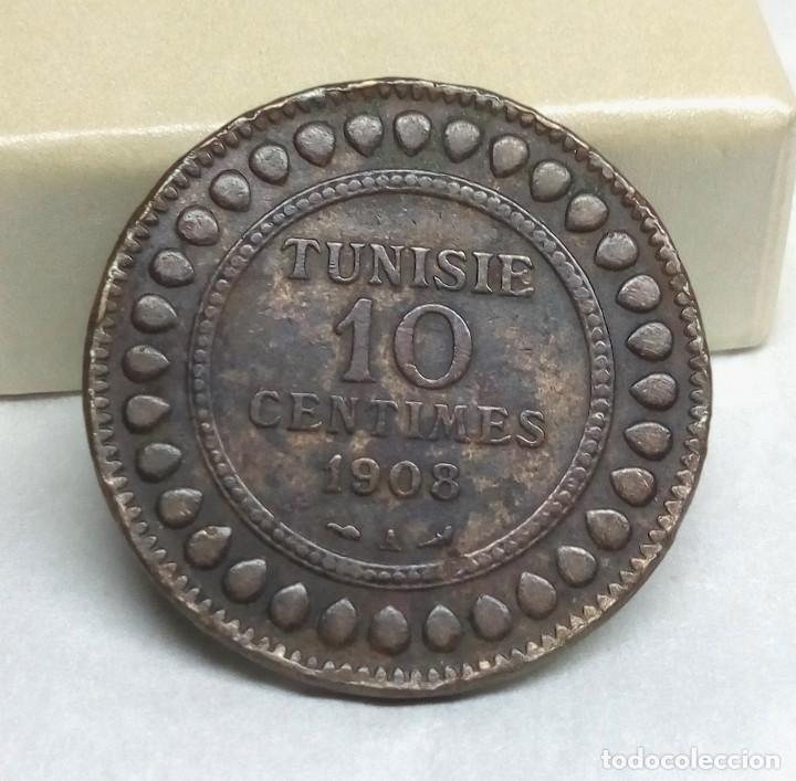 MONEDA DE BRONCE - 10 CÉNTIMOS DE TÚNEZ DE 1908 (Numismática - Extranjeras - África)