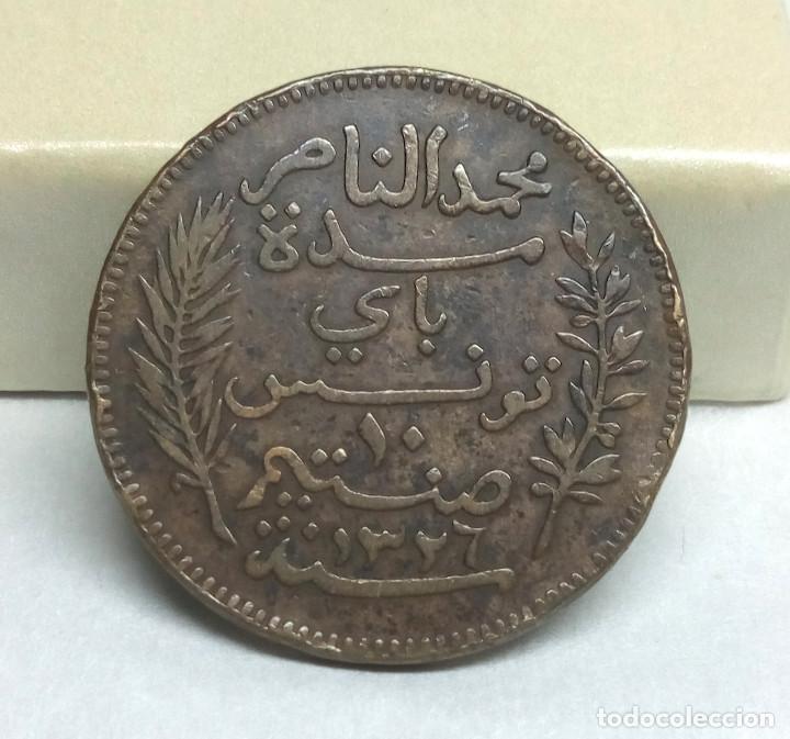 Monedas antiguas de África: MONEDA DE BRONCE - 10 CÉNTIMOS DE TÚNEZ DE 1908 - Foto 2 - 128466715