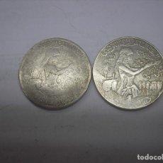 Monedas antiguas de África: TUNEZ, 2 MONEDAS DE 1 DINAR. AÑOS 1976-1980. METAL. Lote 136015406