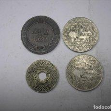 Monedas antiguas de África: MARRUECOS, 4 MONEDAS DISTINTAS. 10 MAZUNAS 1320 +2 DE 1 FRANCO 1921-1924 + 25 CENTIMOS DE 1921-24. Lote 137711186