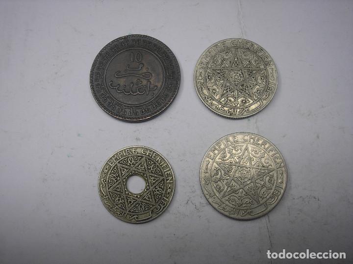 Monedas antiguas de África: MARRUECOS, 4 MONEDAS DISTINTAS. 10 MAZUNAS 1320 +2 DE 1 FRANCO 1921-1924 + 25 CENTIMOS DE 1921-24 - Foto 2 - 137711186