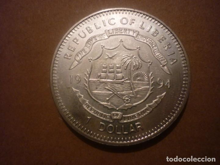 LIBERIA, 1 DOLAR 1994 PRESERVAR EL PLANETA - ARCHAEOPTERYX (Numismática - Extranjeras - África)