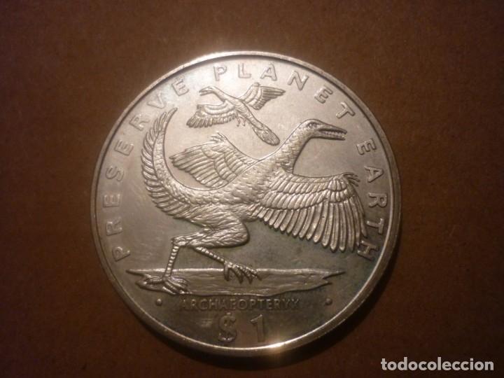Monedas antiguas de África: LIBERIA, 1 DOLAR 1994 PRESERVAR EL PLANETA - ARCHAEOPTERYX - Foto 2 - 146574850