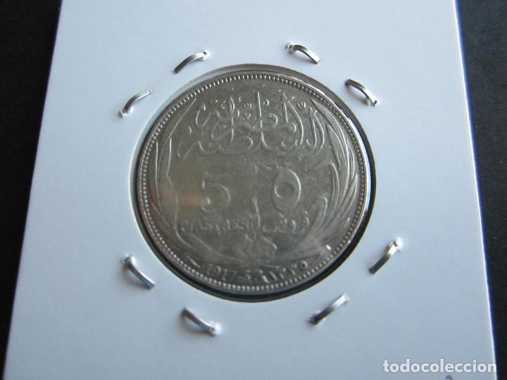Monedas antiguas de África: monedas de 5 piastras de plata de Egipto de 1913 rara - Foto 2 - 146702582