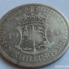 Monedas antiguas de África: MONEDA DE PLATA DE 2,5 CHELINES DE SUDAFRICA DE 1924 EMPERADOR JORGE V INGLATERRA, MEDIA CORONA. Lote 147222710