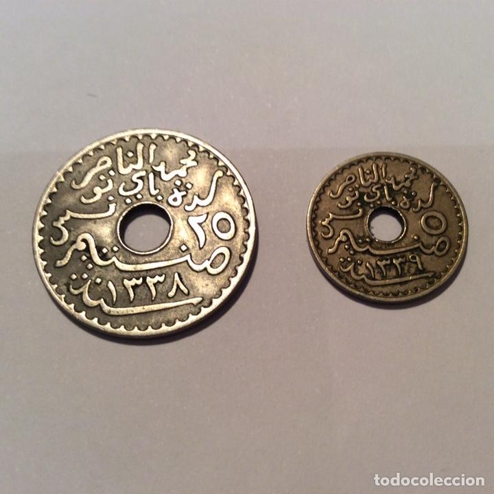 Monedas antiguas de África: Protectorado francés de Túnez lote 2 monedas - Foto 2 - 148623498