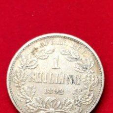 Monedas antiguas de África: MONEDA PLATA SUDÁFRICA. CHELÍN 1892. MUY MUY ESCASA.. Lote 152585313