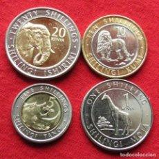 Monedas antiguas de África: KENIA KENYA SERIE 1 5 10 20 SHILLING 2018 ELEFANTE LEÓN JIRAFA RINOCERONTE. Lote 207104317