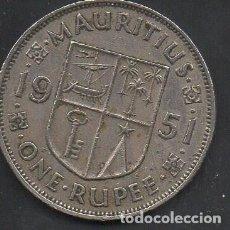 Monedas antiguas de África: ISLA MAURICIO, COLONIA BRITÁNICA, 1 RUPIA 1951, GEORGE VI, ESCASA, 30MM, MBC . Lote 164991098