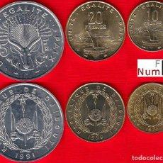 Monedas antiguas de África: DJIBUTI - 5 - 10 Y 20 FRANCOS - NO CIRCULADAS. Lote 165516842
