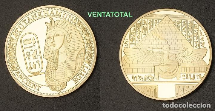 MEDALLA ORO TIPO MONEDA HOMENAJE A TUTANKAMON REY FARAON DEL ANTIGUO EGIPTO - PESA 28,20 GRA - Nº1 (Numismática - Extranjeras - África)