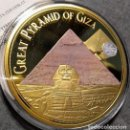 Monedas antiguas de África: BONITA MONEDA MEDALLON GRAN TAMAÑO GRAN PIRAMIDE DE GIZA EGIPTO COLECCION LAS 7 MARAVILLAS DEL MUNDO. Lote 168591178