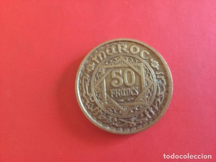 MONEDA DE 50 FRANCS MARRUECOS. EMPIRE CHERIFIEN 1371. PROTECTORADO FRANCES (Numismática - Extranjeras - África)