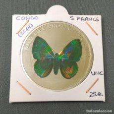 Monedas antiguas de África: CONGO - 5 FRANCS 2002 - MARIPOSA. Lote 171620250
