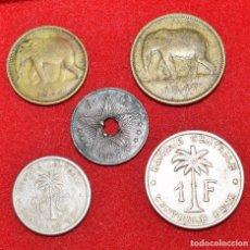 Monedas antiguas de África: CONGO BELGA, 5 MONEDAS: 1 FRANCO (3) - 50 CÉNTIMOS - 1 CÉNTIMO. Lote 173945255