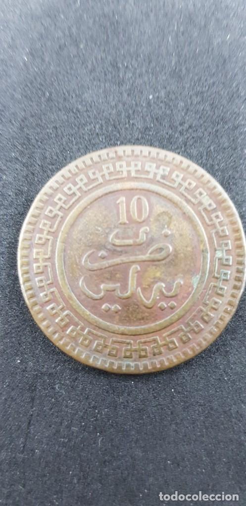 10 MAZUNAS MARRUECOS ABD AL-AZIZ 1321 BRONCE (Numismática - Extranjeras - África)