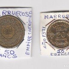 Monedas antiguas de África: MONEDAS EN COBRE MARRUECOS AÑO ISLAM 1371 VALORES 20-50 FRANCS. Lote 176014912