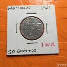 Monedas antiguas de África: 867 ) MARRUECOS,,50 CENT,1921 EN ESTADO MUY BUENA CONSERVACIÓN. Lote 132210989