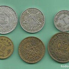 Monedas antiguas de África: MARRUECOS PROTECTORADO FRANCES. 6 MONEDAS DE 6 VALORES. Lote 179100806