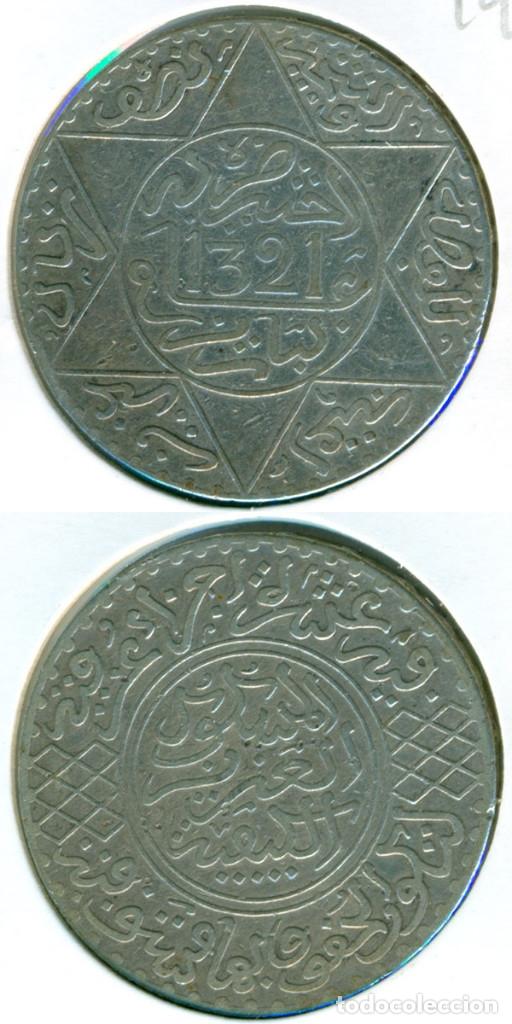MARRUECOS 5 DIRHAM AH 1321 - 1903 ( BC ) Y # 21.3 - ABD AL-AZIZ - PARÍS - PLATA (Numismática - Extranjeras - África)