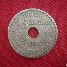 Monedas antiguas de África: 25 CENTIMES DE TÚNEZ 1920. Lote 181743737
