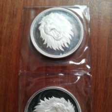 Monedas antiguas de África: 2 MONEDAS 2 RIYALS YEMEN 1969 PLATA PROOF TIRADA SOLO 4,200 EN FUNDA DE BANCO. Lote 183548245