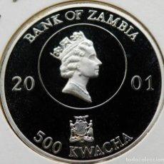 Monedas antiguas de África: ZAMBIA 500 KWACHA 2001 PLATA PROOF. Lote 183584446