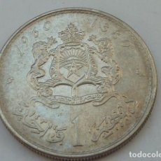 Monedas antiguas de África: MONEDA DE PLATA DE 1 DIRHAM DE MARRUECOS REY MOHAMMED V PESA 6 GRAMOS 1960/1380. Lote 183822842