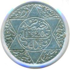 Monedas antiguas de África: MARRUECOS 5 DIRHAM AH 1320 - 1903 ( MBC ) Y # 21.2 - ABD AL-AZIZ - LONDRES - PLATA. Lote 184969656